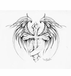 cross with wings tattoo design by MarinaAlex on deviantART Tattoo Drawings, Cool Drawings, Body Art Tattoos, Sleeve Tattoos, Cool Tattoos, Tatoos, Tattoo Art, Pencil Drawings, Wing Tattoo Men