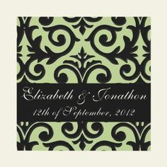 """Margarita Green Damask Scrollwork  Elegant and formal """"margarita"""" green and black damask scrollwork custom invitations. Perfect for spring or garden weddings and events."""