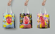 Tote bags with digital illustration