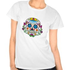 Colored Flowers Mexican Tattoo Sugar Skull T-shirts