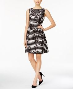 $103 Vince Camuto Floral Striped Jacquard Fit & Flare Dress