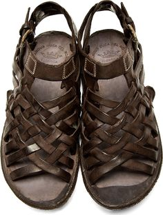 Officine CREATIVE | Brown Leather Woven Apuana Sandals