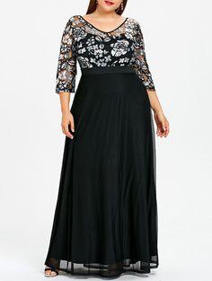 9dd34d8e92ce Plus Size Xl-5Xl Women Dress Sequined Floral Print Maxi Prom Evening Party  Dress Čierne