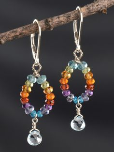 Harmony Scott Jewelry Design - Paradise Earring | Rainbow colored hoops with dangling Blue Topaz by Harmony Scott