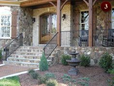 Exterior residential custom wrought iron railings in Raleigh NC - deck, porch rails aluminum and iro. Porch Step Railing, Wrought Iron Porch Railings, Front Porch Posts, Front Porch Railings, Front Porch Design, Porch Steps, Aluminum Railings, Wood Columns Porch, Front Steps