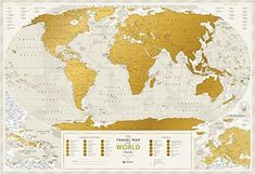 "Detailed Scratch Off Travel World Map - Premium Edition - 34.6"" x 23.6"" - Large Places I've Been Travel Map by 1DEA.me - You Can Mark Over 10 000"