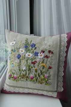 brazilian embroidery for beginners Cushion Embroidery, Crewel Embroidery Kits, Flower Embroidery Designs, Silk Ribbon Embroidery, Embroidery Patterns, Embroidery Supplies, Embroidered Cushions, Embroidery Thread, Embroidery For Beginners