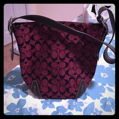 Coach Shoulder Bag Coach burgundy material Coach bag with brown leather shoulder strap. Like new Coach Bags Shoulder Bags