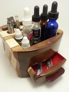 Electronic Cigarette ECig Vapor Handmade Wood Organizer iTaste VV square holes- (EC0102)