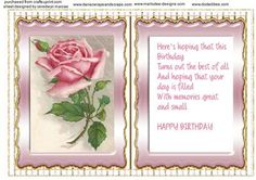 Incert with Verse and Pink roses  on Craftsuprint designed by Ceredwyn Macrae - A lovely Incert to compliment any card with a beautiful Verse and Pink roses , - Now available for download!