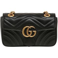 Gucci Women Mini Gg Marmont 2.0 Quilted Leather Bag ($1,435) ❤ liked on Polyvore featuring bags, handbags, gucci, black, snap closure purse, shoulder strap handbags, shoulder strap purses, mini handbags and quilted leather purse