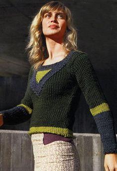 пуловер с имитацией кокетки