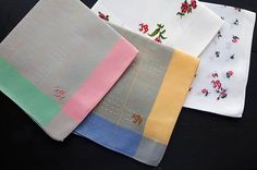 Vintage handkerchiefs cotton embroidery monogrammed JB pastel floral set of four