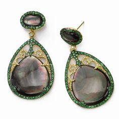 Dramatic Green Garnet and Diamond Accented Shell Earrings, Fortunoff Jewelry