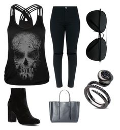"""•black~skull•"" by unikitty864 on Polyvore featuring WithChic, Witchery and Lanvin"
