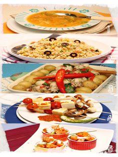 1 - Sopa de Courgete com Legumes Laminados; 2 - Salada de Millet com Legumes e Azeitonas; 3 - Choquinhos com Pimentos Padrón; 4 - Espetadas de Tofu e Cogumelos com Molho Picante; 5 - Papaia com Creme de Ervas