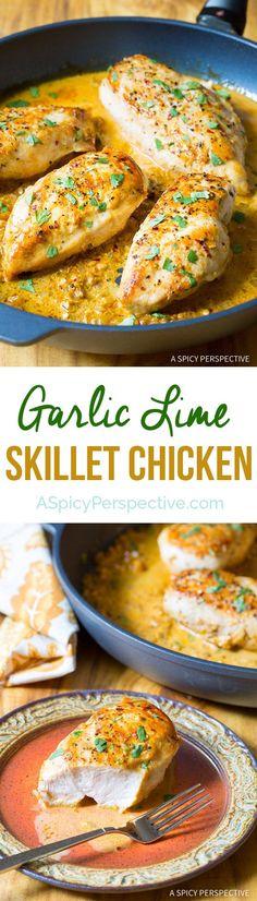 Easy Zesty Garlic Lime Skillet Chicken on ASpicyPerspective.com