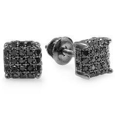 Black over Men's 1/3ct TDW Black Diamond Ice Cube Dice Iced Stud Earrings