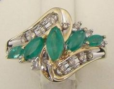 10K YELLOW GOLD RING NATURAL MARQUISE EMERALDS .10 CT TW DIAMONDS 3.8g SIZE 7.5 #Cluster