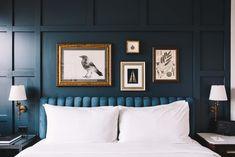A Long Weekend at Denver's Hottest New Hotel & Bar Velvet Headboard, Hotel Room Design, Cool Restaurant, Brown Furniture, Blue Walls, Dream Bedroom, Bedroom Decor, House Design, Wall Design