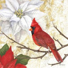 Beth Grove Winter Birds Cardinal Print on Demand- Flat Canvas Variations Beth began her career as an artist in the greeting card industry and eventually joined Carol Wilson Fine Arts, Inc., a publisher of stationery and gift items, where she worked as a staff artist for 15 years. Her decorative style is achieved by creating watercolors using traditional drawing and painting techniques, and digitally adding contemporary design elements. ñI find the subtle relationships of colors.