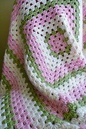 Free Crochet Granny Square Baby Blanket Pattern..