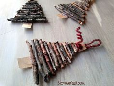 Rustic Twig Christmas Tree Ornaments is part of Cardboard christmas tree - How to make an easy twig Christmas tree ornament using card board, twigs and glue A cute and rustic holiday craft idea for gifts, decorating and Rustic Christmas Crafts, Twig Christmas Tree, Cardboard Christmas Tree, Homemade Christmas Decorations, Woodland Christmas, Christmas Crafts For Kids, Xmas Crafts, Diy Christmas Ornaments, Christmas Holidays