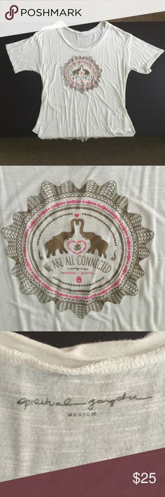 "Spiritual Gangster tshirt cream color, graphic on front of two elephants with text ""We Are All Connected"". Spiritual Gangster Tops Tees - Short Sleeve"