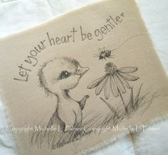 Original Pen Ink on Fabric Illustration Quilt Label by Michelle Palmer Duck Daisy Bumble Bee May 2015
