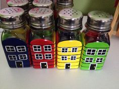 Hand painted row house salt and pepper shakers by yours truly! Sea Glass, Wine Glass, Glass Art, Newfoundland And Labrador, Newfoundland Canada, Garbage Containers, Painted Rocks, Hand Painted, House Painting