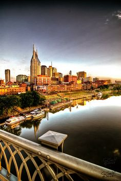 Just after sunrise on the Shelby Street Bridge in Nashville, Tennessee