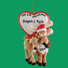 Personalized Reindeer Couple Ornament #christmas