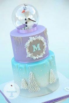 Frozen cake olaf snow globe