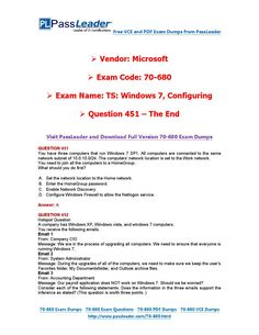 70-680 Exam Dumps with PDF and VCE Download (451-end)