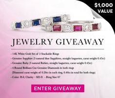 SusanB. is looking for the LUCKY 7!  Enter to Win 14K White Gold Set of 2 Stackable Rings (Size 07, a value $1,000)! Good luck!   http://prmo.me/7EkDIg  #Jewelry #Fashion #SusanB #Giveaway #Sweepstakes #Win #Gift #Style #Trend #StyleisPersonal #WhiteGold #Diamond #Genuine #Sapphire #Ruby #StackRings #Stackable #Rings #RingSet #14K