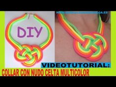 ▶ COMO HACER UN COLLAR DE MODA CON NUDO CELTA MULTICOLOR CON CORDONES DE ZAPATOS FLUOR TUTORIAL DIY - YouTube