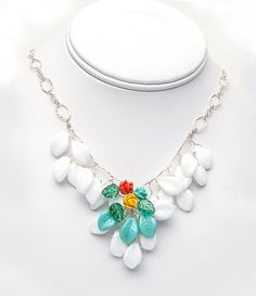 Spring Flower beaded necklace in Turquoise Peach Yellow, Bib Necklace, Nature Jewelry, Bridal Jewelry