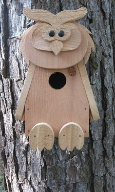 Handcrafted Figural Owl Birdhouse in Cedar or by RossArtsNCrafts, $30.00