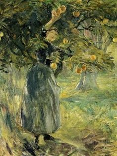 5b9987a2f107 Berthe Morisot (1841-1895). The Orange Picker French Impressionist  Painters