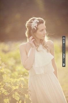 pretty headpiece...and golden light  (photo by Katy Lunsford) | CHECK OUT MORE IDEAS AT WEDDINGPINS.NET | #weddings #weddinginspiration #inspirational