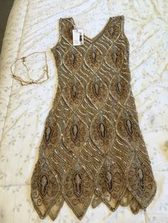 Beaded Ladies Flapper Dress With Head Piece - Great Gatsby- Roaring 20's