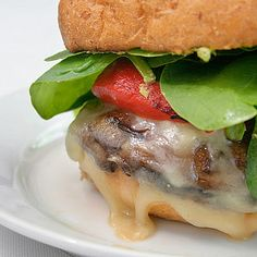 Vegetarian: Portobello Burgers with Pesto, Provolone and Roasted Red Peppers
