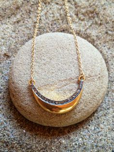 Baby pave diamond crescent pendant by DylanKDesigns on Etsy