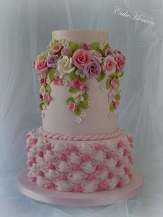 Pink Roses and Billowing Cake - Cake by Marlene - CakeHeaven by isrc Unique Cakes, Elegant Cakes, Amazing Wedding Cakes, Amazing Cakes, Cute Cakes, Pretty Cakes, Divorce Cake, Rodjendanske Torte, Floral Cake