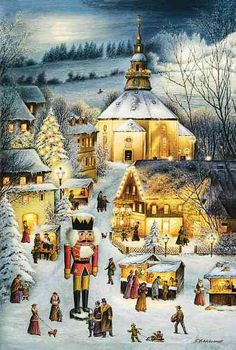 "From Brück and Sohn (Printers in Meissen, Germany since 1793) a charming Advent Calendar of the center of Germany's Christmas industry:  Seiffen,  depicting the Christmas Market including a Nutcracker and Pyramid.  Art by G. Hildebrandt. This delightful advent calendar is 10"" x 15"".   Made in Germany.   Available from www.mygrowingtraditions.com"