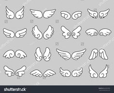 Find Set Cute Angel Wing stock images in HD and millions of other royalty-free stock photos, illustrations and vectors in the Shutterstock collection. Cartoon Angel Wings, Angel Wings Drawing, Angel Wings Art, Doodle Drawings, Doodle Art, Drawing Sketches, Wings Sketch, Wings Design, Drawing Base