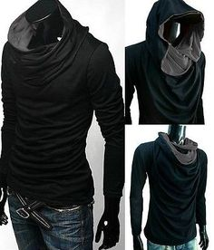 New Men long sleeve turtle cowl neck hoodie scarf shirt top tee S M L XL XXL d1c92ef701