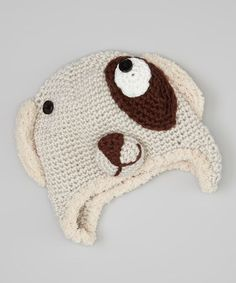 Take a look at this Ivory & Brown Puppy Beanie by Crossroad on #zulily today!