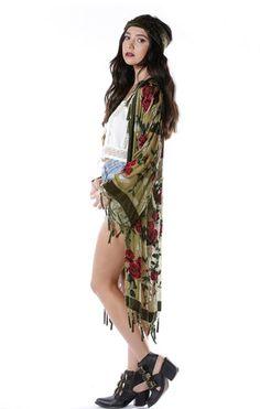 Eden Floral Velvet Burnout Tassel Kimono - Saltwater Gypsy #saltwatergypsy