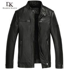 Men's leather motorcycle jackets Dusen Klein 2017 New arrivals genuine sheepskin Business style male jacket black 15L1450